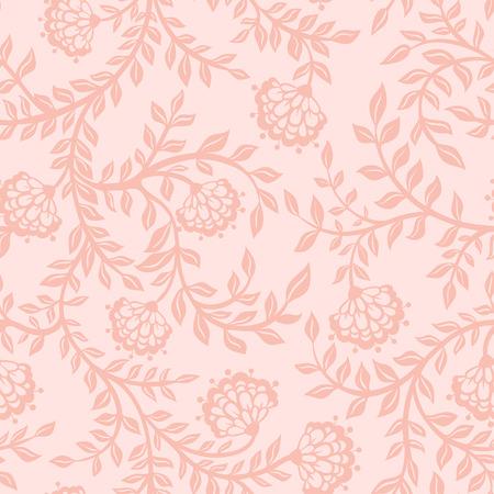 ヴィンテージ花柄シームレス パターン。花とシームレスなテクスチャです。無限の花模様。  イラスト・ベクター素材