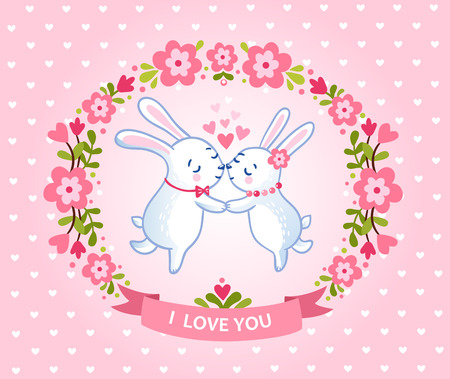 couple nature: Floral frame for romantic holiday designs. I love you card with symbol of heart and two bunnies lovers.
