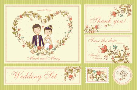 Conjunto de boda. Conjunto de tarjetas de invitación de la boda, gracias las tarjetas, las tarjetas de fecha. Ilustración de vector
