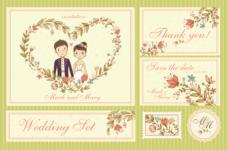 groom and bride: Wedding Set. Set of wedding invitation cards, thank you card, save the date cards.