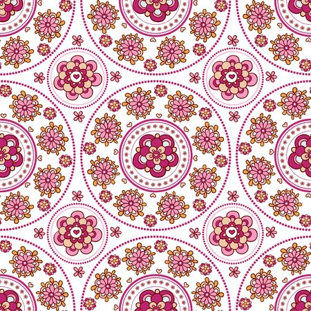 east indian: Floral seamless pattern. Vintage invitation card. Template frame design for card. Illustration