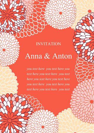 despedida de soltera: Invitación de boda. Fondo floral del vector romántico en color rosa. Capítulo con las flores y el texto.