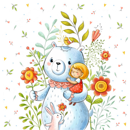 baby bear: Made in watercolor technique. Card with girl in the arms of a bear and cute rabbit in summer flowers in vector.
