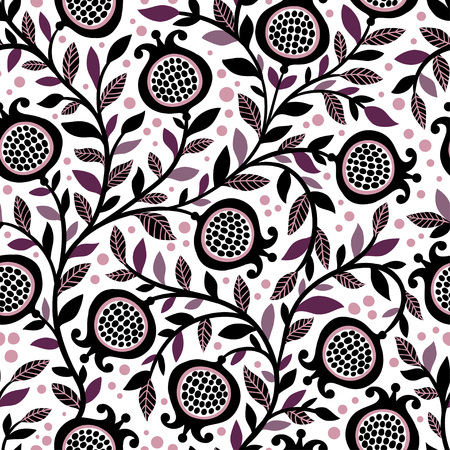 Seamless floral pattern with decorative pomegranate fruits and leaves. Vector seamless illustration with berries on a white background. Vettoriali