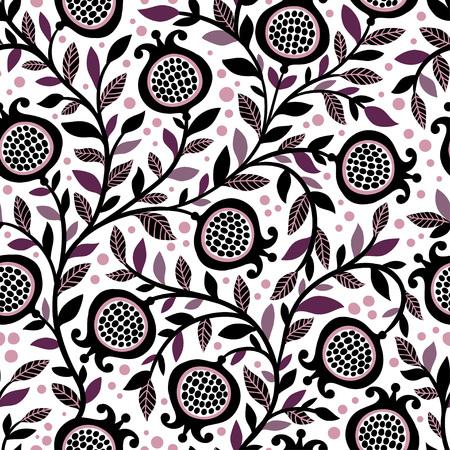 Seamless floral pattern avec des fruits et des feuilles de grenade décoratives. Vector illustration transparente avec baies sur un fond blanc.