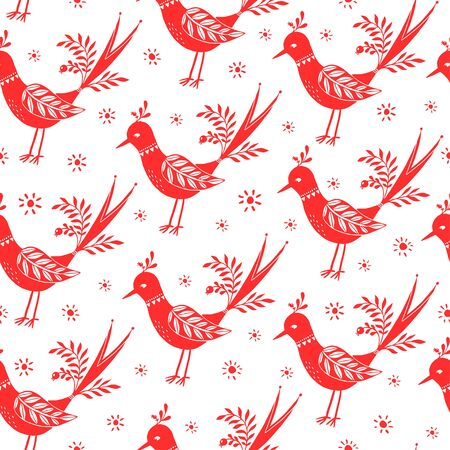 Seamless vector folk pattern. Vintage pattern with red birds on a white background. Illustration