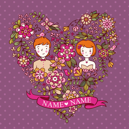bride cartoon: Wedding floral heart of violet with flowers and birds. The bride and groom. wedding invitation with a place under the names of the newlyweds.