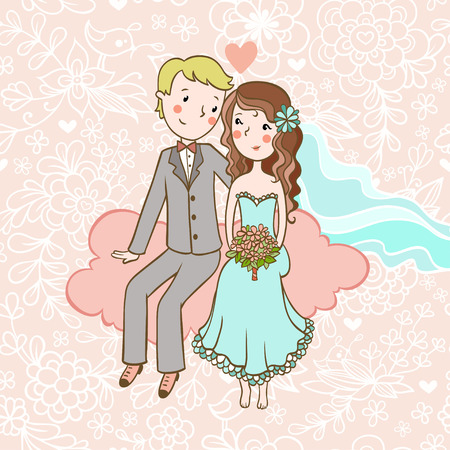 pink wedding: Wedding invitation. Vintage wedding invitation with a boy and girl sitting on clouds. Illustration