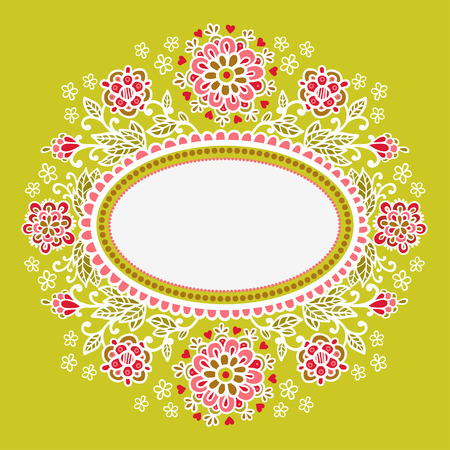 oval frame: Oval frame with flowers. Vector.Hand-Drawn Abstract Decorative Sketchy Notebook Drawing Vector Illustration with Oval Frame Shape.