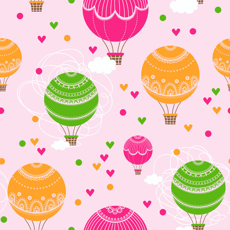 flying balloon: Background with hot air balloons and heart. Vector illustration of colorful hot air balloons. Illustration