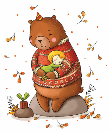 Brown teddy bear hugging a girl. Illustration