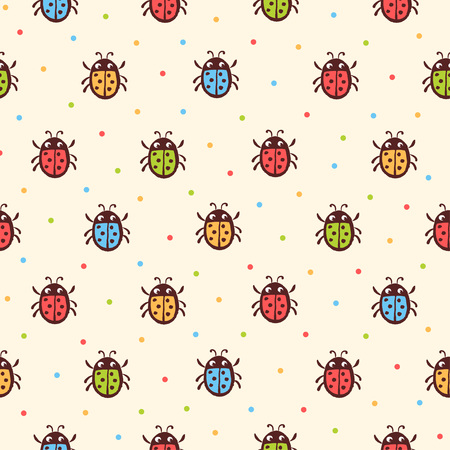 ladybug: Seamless childish ladybugs pattern. Vector seamless illustration with ladybirds on a beige background with colorful peas.