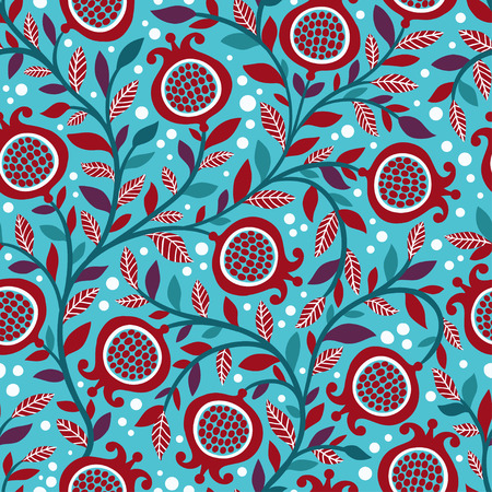 vintage floral pattern: Vintage seamless floral pattern with decorative pomegranate fruits and leaves. Floral repeating background.