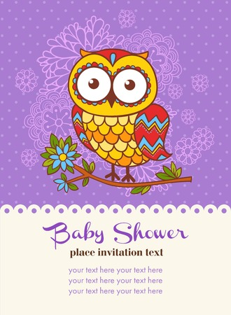 party animals: Baby shower invitation card with an owl. Vector illustration of an owl and a place for your text.