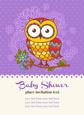 marco cumpleaños: tarjeta de invitación de la ducha de bebé con un búho. Ilustración vectorial de un búho y un lugar para el texto.