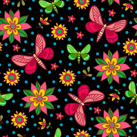 pink texture: Bright seamless pattern with flowers and butterflies in vector. Vector illustration of butterflies and flowers on a black background.