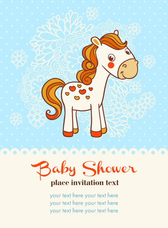 congratulations text: Baby shower invitation card with horse. Illustration