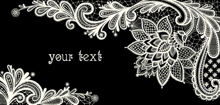 Black and white lace vector design.