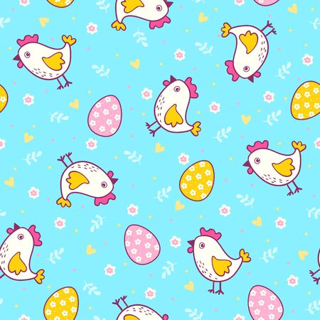 cute animal cartoon: Vector seamless illustration with easter eggs and chicken.