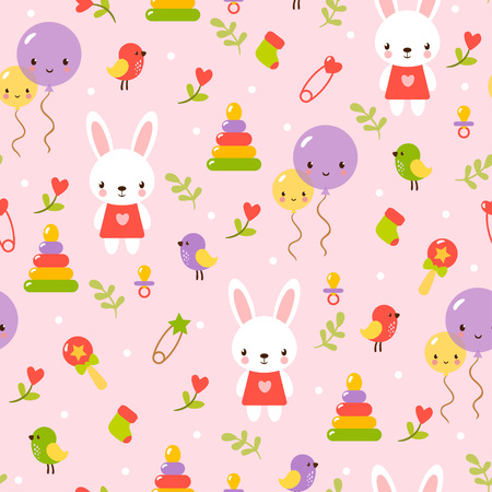 family fun: Seamless baby pattern.