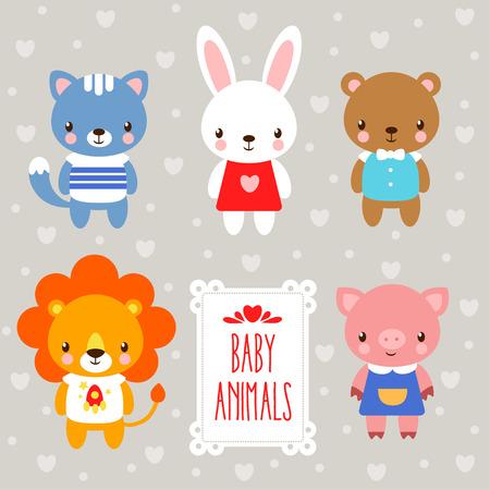 babydieren. set van cartoon dieren op een grijze achtergrond en de woorden. Stock Illustratie