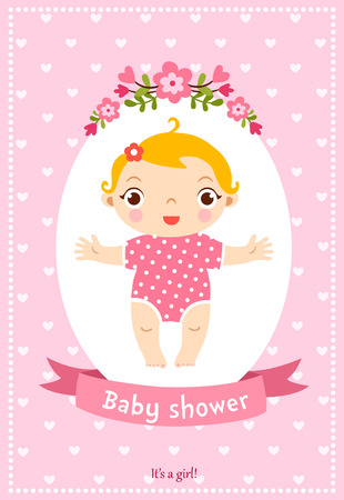 love shape: Baby shower invitation card. Cute illustration with sweet baby girl.