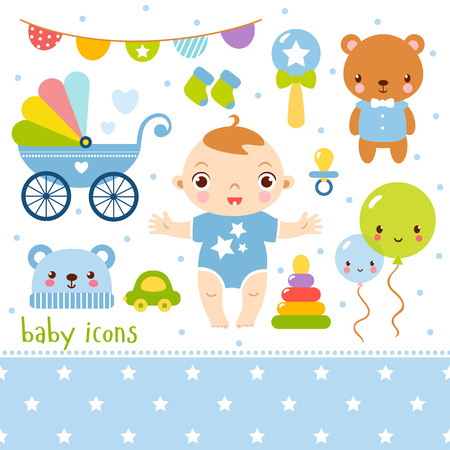 family life: Cute cartoon baby boy set. illustration of a little girl and toys.
