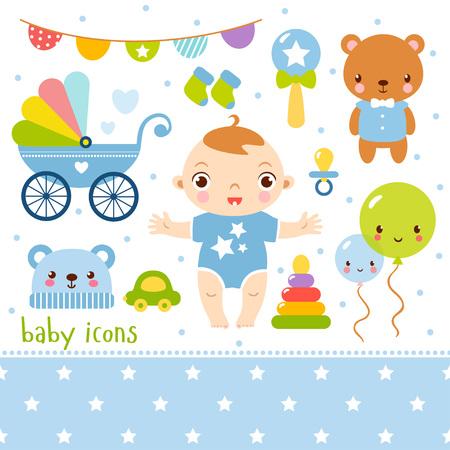 convivencia familiar: set Bebé lindo de dibujos animados. ilustración de una niña y juguetes.