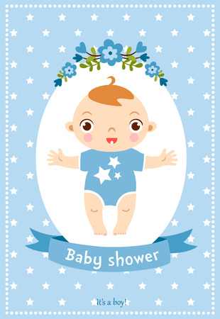birthday decoration: Cute illustration with sweet baby boy.