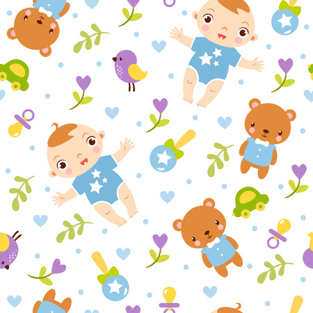 clothes cartoon: seamless illustration on the theme of childrens toys and child on a white background. Illustration