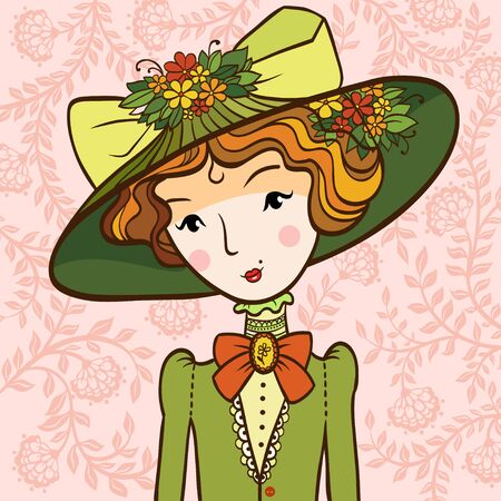 elegant woman: Retro girl in a Hat. illustration of a woman with a hat in a retro style.