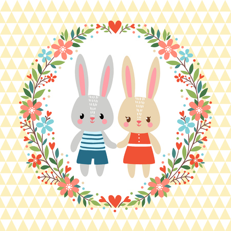 sisters: Greeting card with two Rabbits in a floral frame. Illustration