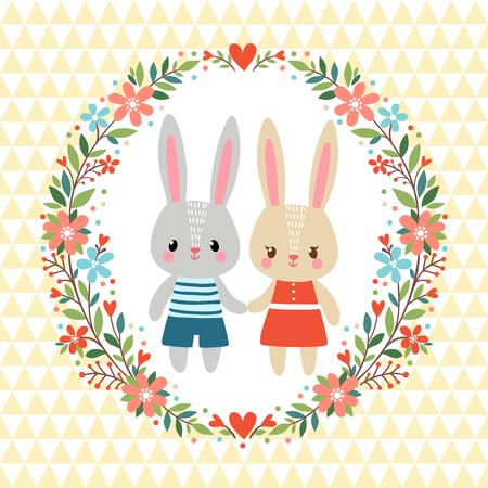 flor caricatura: Tarjeta de felicitación con dos conejos en un marco floral.