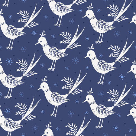Modelo de la vendimia con las aves blancas sobre un fondo azul. Ilustración de vector