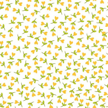 シームレスな花柄。白地にハート形の花でシームレスなイラスト。  イラスト・ベクター素材