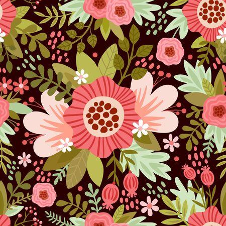 nahtlose Abbildung mit Blumen. nahtlose Muster mit bunten Blumen auf einem braunen Hintergrund. Vektorgrafik