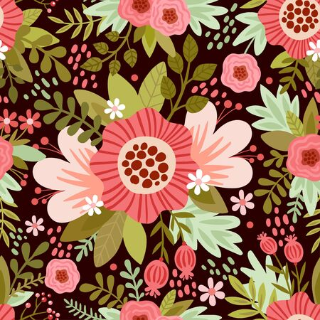 brown background: seamless illustration with flowers. seamless pattern with colorful flowers on a brown background. Illustration