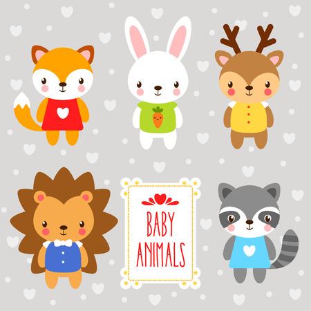만화 동물의 집합입니다. 회색 배경에 만화 스타일에 그려진 숲 아기 동물을 설정합니다.