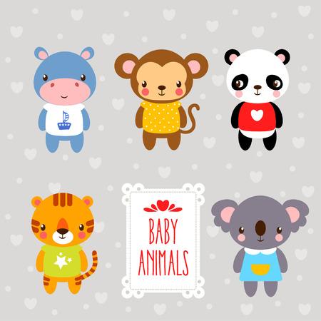 hipopotamo caricatura: Conjunto de animales de dibujos animados. cr�as de animales dibujados en estilo de dibujos animados sobre un fondo gris.