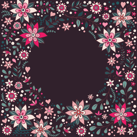 floral vintage: Vintage floral frame with flowers and place for text. Illustration