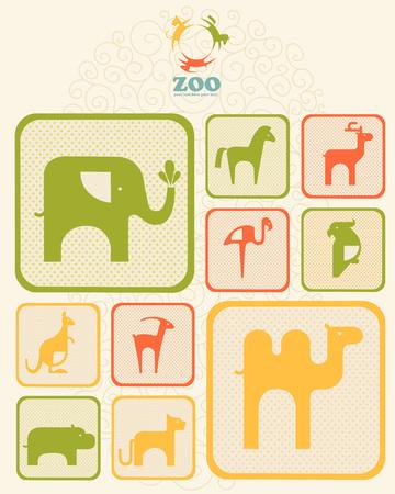silueta humana: Colecci�n de ilustraciones de icono de los animales tropicales en un marco.