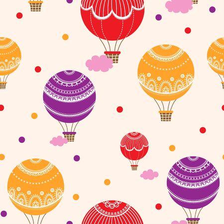 ilustración de coloridos globos de aire caliente.