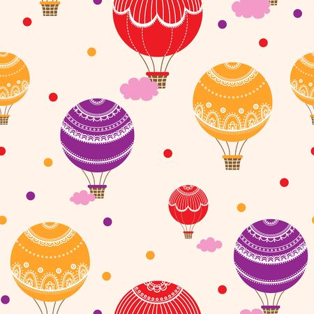 flying balloon: illustration of colorful hot air balloons.
