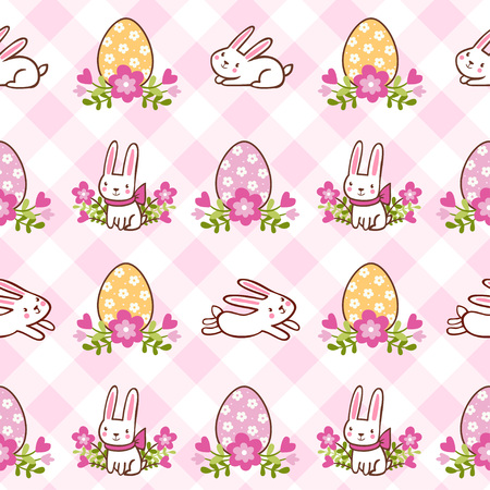cute girl cartoon: Childish vector background. Vector illustration of seamless with rabbits and eggs on Easter theme. Illustration