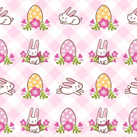 ragazza innamorata: vector background infantile. Illustrazione vettoriale di seamless con conigli e uova sul tema di Pasqua.