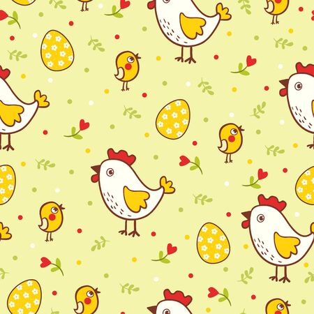chicken and egg: Happy Easter pattern with chicks and eggs. Vector seamless illustration with chicken and eggs on Easter theme.