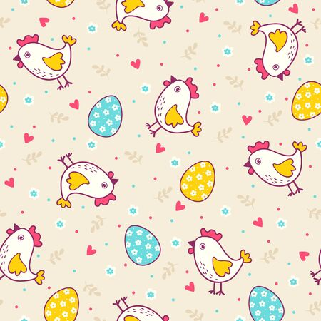 chick cartoon: Seamless easter pattern with chicken and eggs. Can be used for wallpaper, pattern fills, web page background, surface textures, textile.