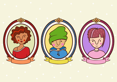 character cartoon: Children portrait in a frame. Color background with a boy and girl. Set.