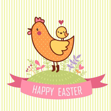 retro cartoon: Happy Easter Card. Cartoon easter hen with chicken. Happy Easter Card.