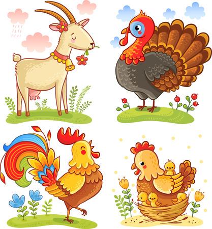 cabra: Conjunto de vectores ilustración con el animal lindo del dibujo animado.
